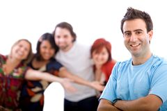 Man with friends Stock Image