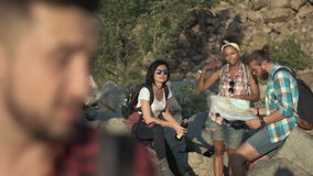 Man with friends traveling stock footage