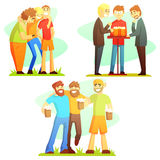 Man Friendship Three Colorful Illustrations Royalty Free Stock Photos