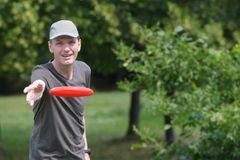 Man with frisbee Stock Photography