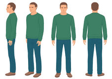 Man , front, back and side view. Fashion man , front, back and side view, vector illustration stock illustration