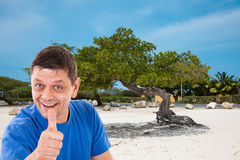 Man in front of beach in Aruba Royalty Free Stock Images