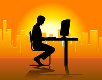 Man In Front Of Computer Royalty Free Stock Photo