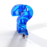 Man in front of a glass question mark Stock Photography