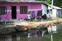Man in front of his house near Kollam Royalty Free Stock Photography