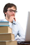 Man front of a laptop Royalty Free Stock Photo