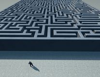 Man in front of a maze, solving problems concept illustration Stock Images