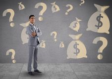 man in front of money on wall Stock Photography