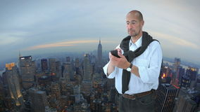 Man in front of New York stock video footage