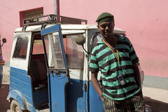 Man in front of a rickshaw, Ethiopia Royalty Free Stock Photo