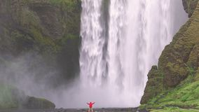 Skogafoss waterfall in Iceland stock footage