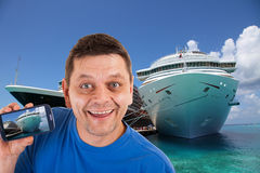 Man in front of two cruise ships Royalty Free Stock Photo