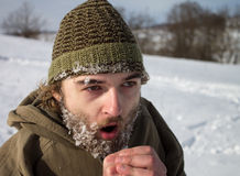 A man with frozen beard Royalty Free Stock Images