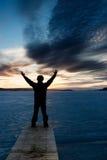 Man on Frozen Lake Royalty Free Stock Images