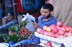 Man at fruit shop Royalty Free Stock Photography