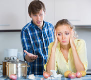 Man and frustrated housewife having bad argument Stock Images