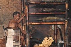 Man frying krupuk royalty free stock image