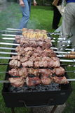 Man is frying meet in garden. Food on skewer, grill, barbecue. Man is roasting meet on brazier in the summer garden Shish kebab , shashlik, barbecue, marinated Royalty Free Stock Photo