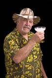 Man with a fu man chu mustache, hat and Margarita Royalty Free Stock Image