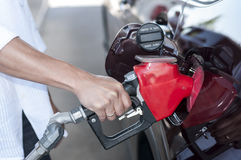 Man fuelling car. Man filling car gas tank with gasoline Stock Photography