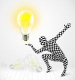 Man in full body with glowing light bulb Royalty Free Stock Photography