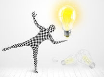 Man in full body with glowing light bulb Royalty Free Stock Images