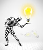 Man in full body with glowing light bulb Stock Image