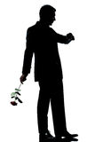 Man full length one caucasian with a rose flower Royalty Free Stock Photo
