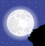 Man and full moon Royalty Free Stock Images