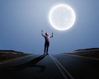 Man and full moon Royalty Free Stock Photos