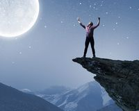 Man and full moon. Young screaming man at night with big full moon at background Royalty Free Stock Photography