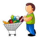 Man with full shopping cart Stock Photography