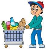 Man with full shopping cart Royalty Free Stock Photos