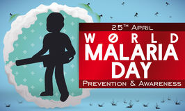 Man Fumigating and Fighting against Mosquitoes in Malaria Day Event, Vector Illustration. Banner for World Malaria Day with man silhouette fumigating and Stock Photos