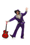 Man in funny clothing holding guitar isolated on Stock Images