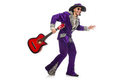 Man in funny clothing holding guitar isolated on Stock Photography