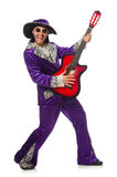 Man in funny clothing holding guitar isolated on Stock Photos