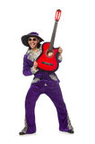Man in funny clothing holding guitar isolated on Royalty Free Stock Photos