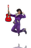 Man in funny clothing holding guitar isolated on Royalty Free Stock Photography