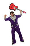 Man in funny clothing holding guitar isolated on Royalty Free Stock Image