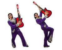 The man in funny clothing holding guitar isolated on white. Man in funny clothing holding guitar isolated on white Stock Image