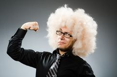 The man with funny hair style stock image