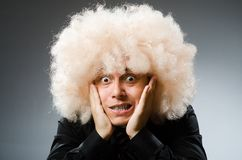 The man with funny hair style royalty free stock images