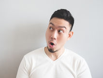 Man with funny shocked face. Royalty Free Stock Photography