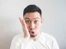 Man with funny shocked face. Royalty Free Stock Photos