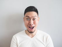 Man with funny shocked face. Stock Image
