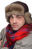 Man in a fur hat. People on white - man in a fur hat Stock Photography