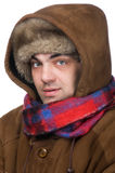 Man in a fur hat macro. People on white - man in a fur hat Royalty Free Stock Photo