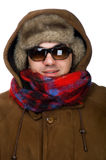 Man in fur hat with sunglasses on white Royalty Free Stock Photography