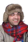 Man in a fur hat on white. People on white - man in a fur hat Stock Photography